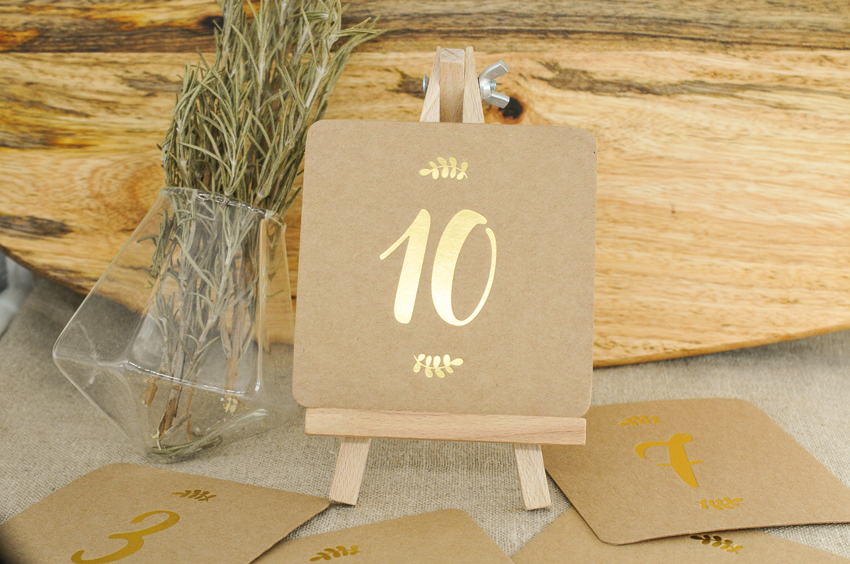 12 Numeros De Table Kraft Et Or L Atelier Letterpress