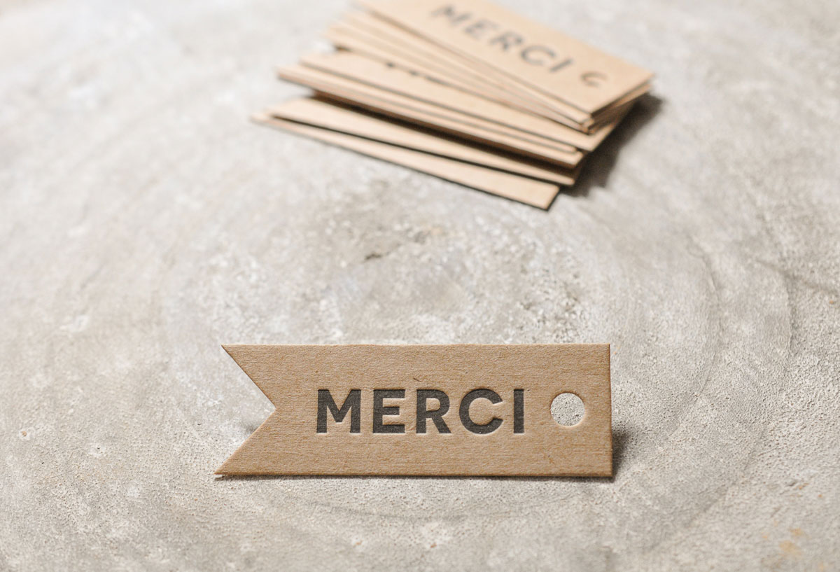 Fanion Merci en Letterpress et kraft