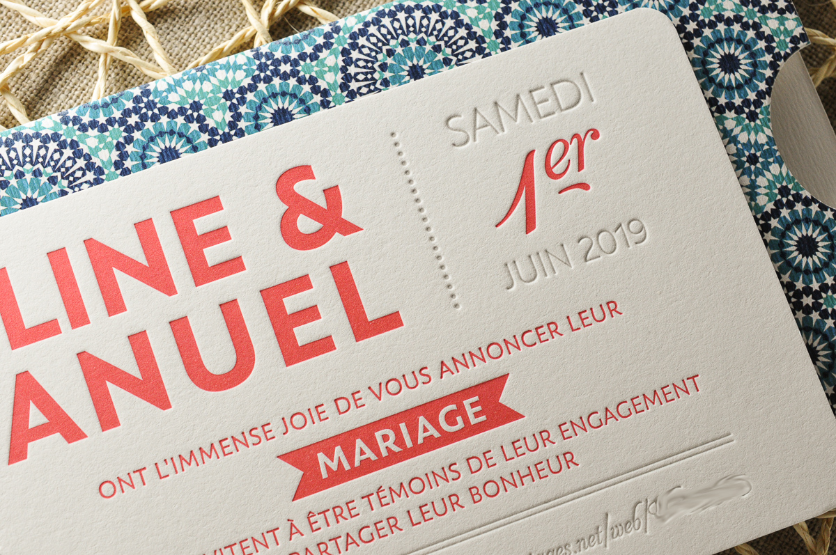Faire-part en Letterpress corail et gris, en relief